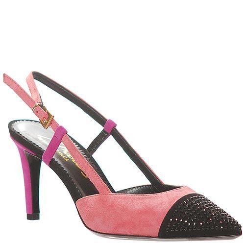 Босоножки Marino Fabiani из замши розового цвета с черным носком, фото