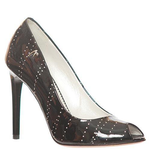 Туфли Marino Fabiani из кожи лаковые черного цвета с открытым носочком, фото