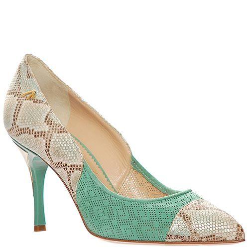 Туфли Marino Fabiani из натуральной кожи серо-зеленые, фото