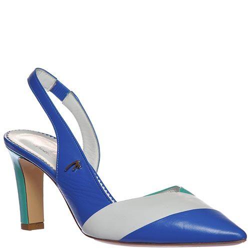 Босоножки Marino Fabiani из кожи синего цвета с белой полоской на носочке, фото
