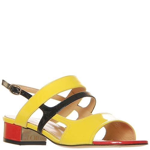 Босоножки Marino Fabiani из кожи лаковые желтого цвета, фото