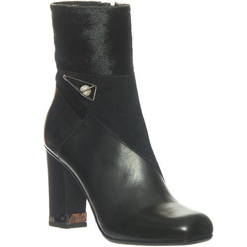 Кожаные ботинки Marino Fabiani черного цвета с высоким коблуком, фото