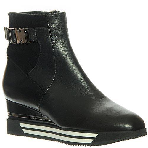 Ботинки Marino Fabiani из натуральной кожи черного цвета на танкетке, фото