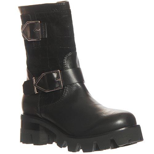Ботинки Marino Fabiani из натуральной кожи черного цвета на устойчивом каблуке, фото