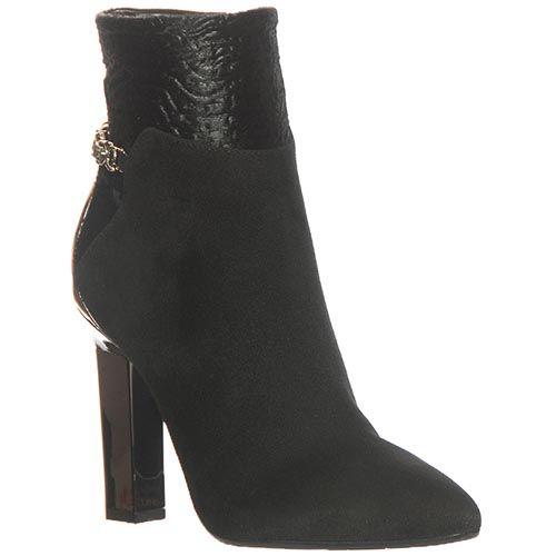Замшевые ботинки Marino Fabiani чеерного цвета на высоком каблуке, фото