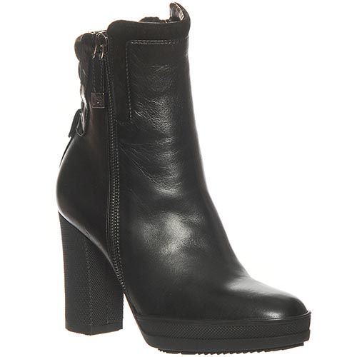 Кожаные демисезонные ботинки Marino Fabiani черного цвета на высоком каблуке, фото