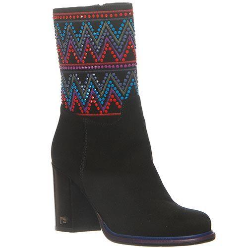 Замшевые демисезонные ботинки Marino Fabiani черного цвета с устойчивым каблуком, фото