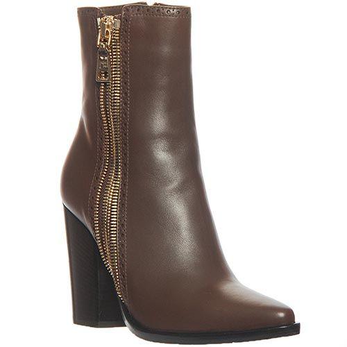 Кожаные ботинки Marino Fabiani коричневого цвета на высоком каблуке, фото