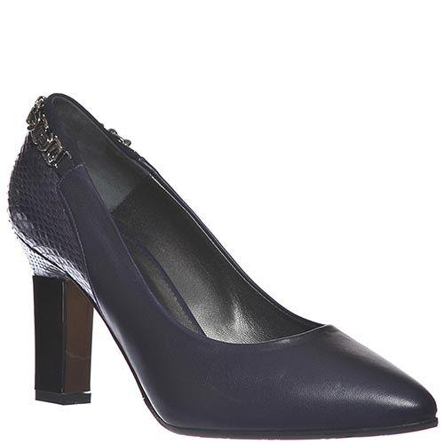 Кожаные туфли Marino Fabiani темно-синие с тисненой пяточкой, фото