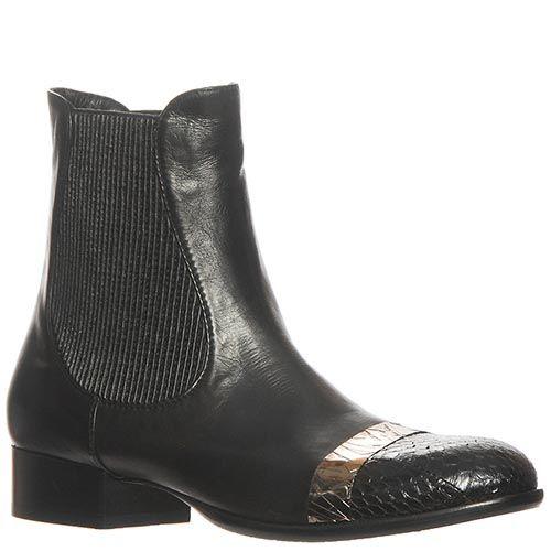 Ботинки Marino Fabiani из натуральной кожи черного цвета с низким каблуком, фото