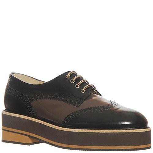 Туфли Marino Fabiani из натуральной кожи черного-коричневые, фото