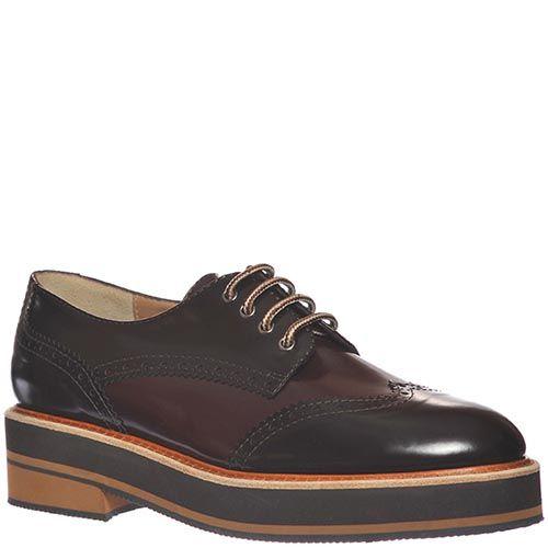 Кожаные туфли-броги Marino Fabiani темно-бордового цвета, фото