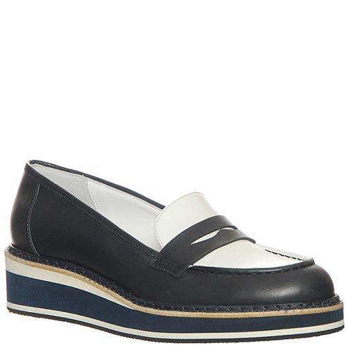 Туфли Marino Fabiani из натуральной кожи бело-черные на танкетке, фото