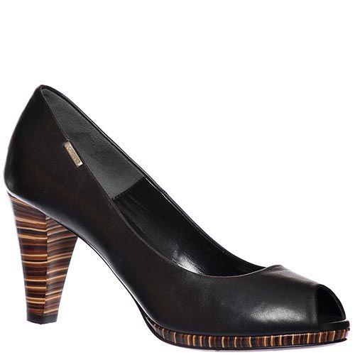 Туфли Loriblu из натуральной кожи черного цвета с открытым носочком, фото
