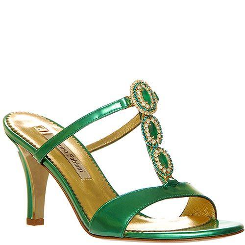 Мюли Marino Fabiani из натуральной кожи лаковые зеленого цвета, фото