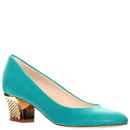 Туфли Giorgio Fabiani ярко-бирюзового цвета с золотистым каблуком, фото