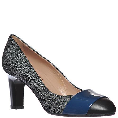 Туфли Giorgio Fabiani черно-белые со вставкой из синей лаковой кожи, фото
