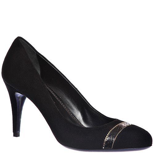 Замшевые туфли Loriblu черного цвета на высоком каблуке, фото