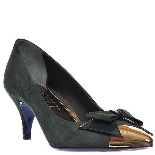 Замшевые туфли Loriblu зеленого цвета с золотистым носочком, фото