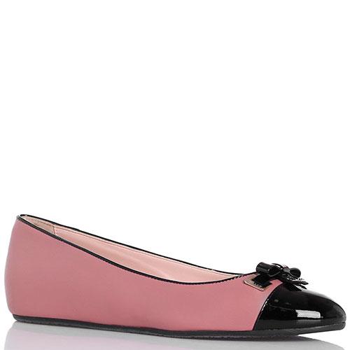 Кожаные балетки розового цвета Bally с лаковым носком, фото
