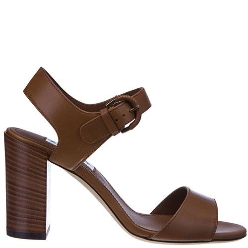 Коричневые босоножки Tod's на устойчивом каблуке, фото