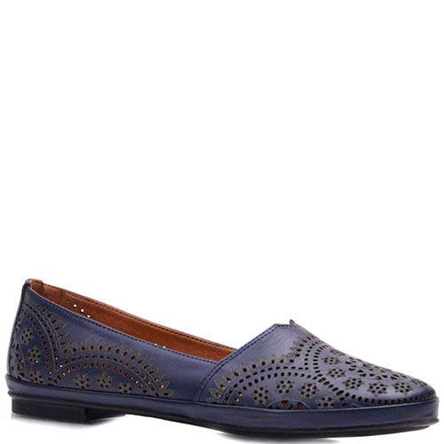 Туфли Prego из кожи синего цвета на низком каблуке, фото