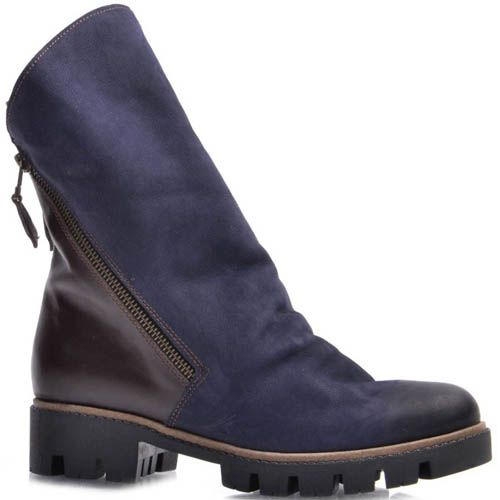 Ботинки Guero зимние из нубука синего цвета, фото