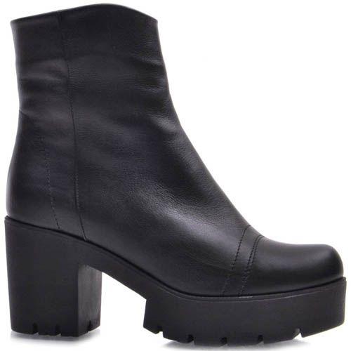 Ботинки Guero зимние кожаные черного цвета со строчками на носочке, фото