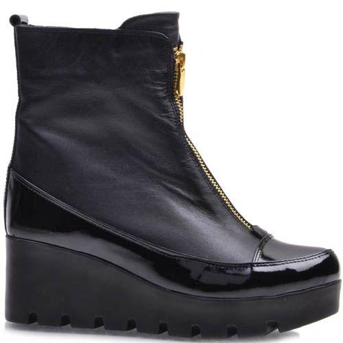 Ботинки Guero зимние с лаковыми вставками и с золотистой молнией, фото