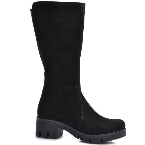 Сапоги Guero зимние замшевые черного цвета минималистичные с каблуком высотой 5 см, фото