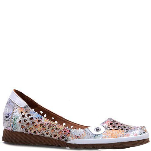 Туфли Prego из натуральной перфорированной кожи с абстрактным принтом, фото