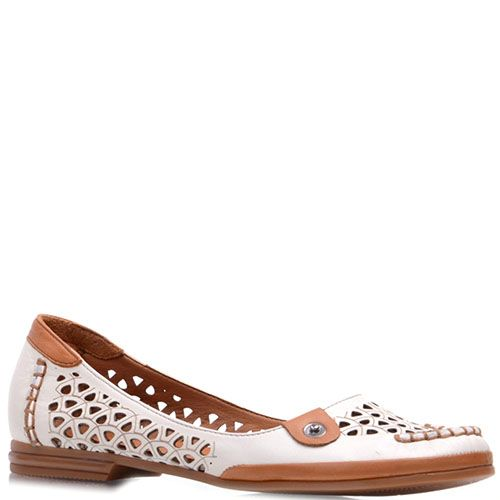 Туфли Prego кожаные бежевого цвета с коричневыми вставками, фото