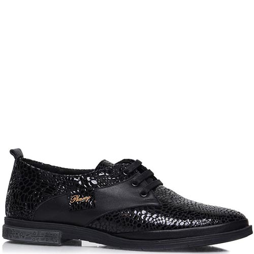 Туфли Prego из лаковой кожи с фактурой кроко, фото