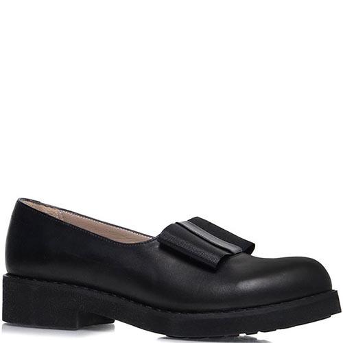 Туфли Prego из кожи черного цвета с текстильным бантиком, фото