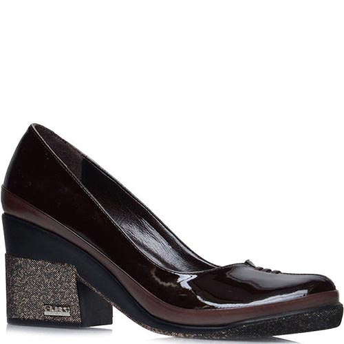 Лаковые туфли Prego коричневого цвета на толстом каблуке, фото