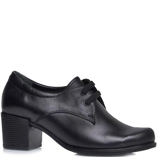 Туфли Prego из натуральной кожи черного цвета на шнуровке, фото