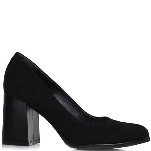 Туфли Prego из натуральной замши черного цвета на толстом каблуке, фото