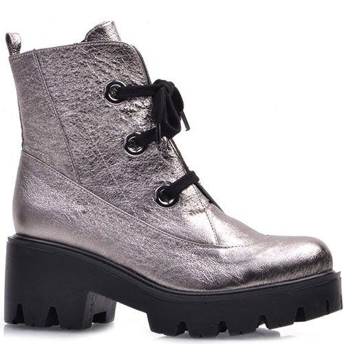 Высокие ботинки Prego из натуральной кожи серебристого цвета с металлическим блеском, фото
