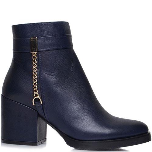 Ботинки Prego из кожи синего цвета с золотистым декором, фото