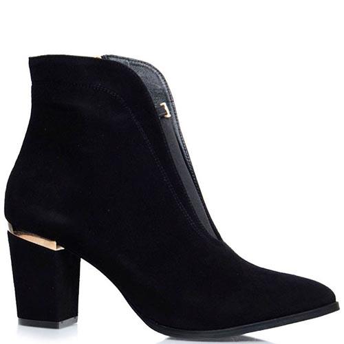 Ботинки Prego черного цвета с золотистым декором и вставкой-резинкой, фото