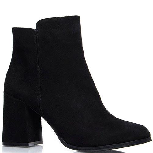 Женские ботинки Prego из натуральной замши черного цвета на среднем каблуке, фото