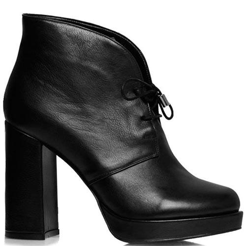 Ботильоны Prego из натуральной кожи черного цвета со шнуровкой, фото