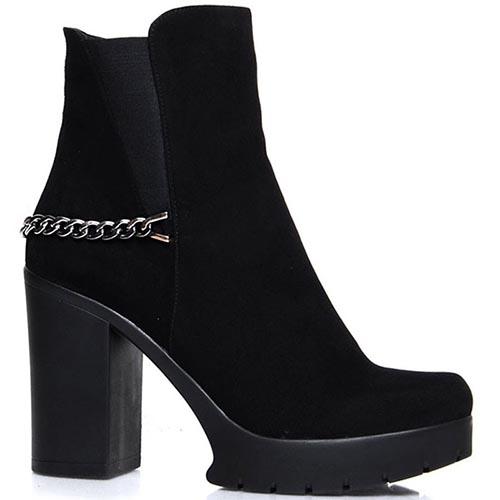 Ботинки Prego черного цвета серебристым декором и вставками-резинками, фото
