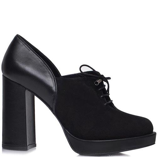 Ботильоны Prego черного цвета со шнуровкой на высоком каблуке, фото
