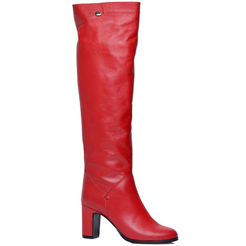 Кожаные сапоги Prego красного цвета на устойчивом каблуке, фото
