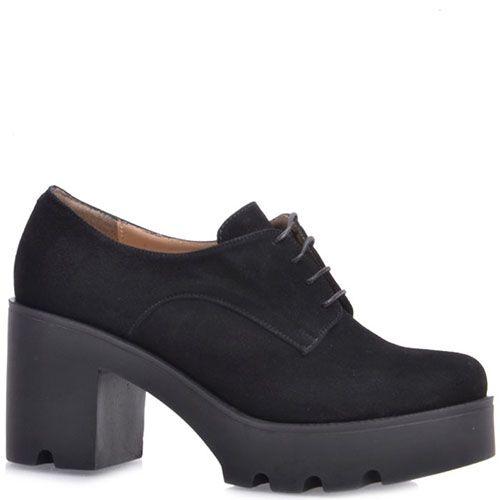 Ботильоны Prego из натуральной замши черного цвета на среднем каблуке, фото
