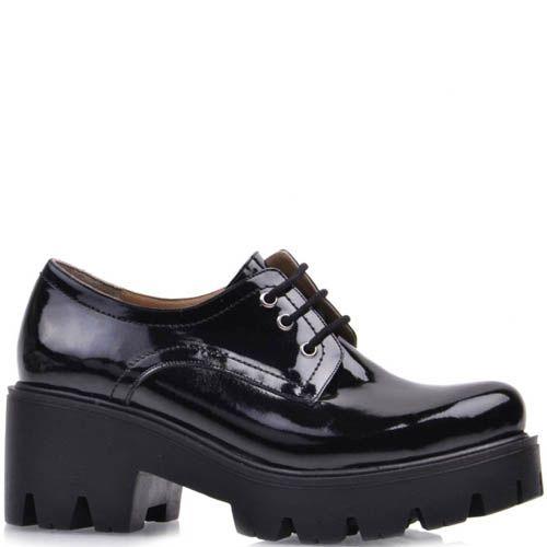 Ботинки Prego лаковые с округлым носком на толстом каблуке и танкетке, фото