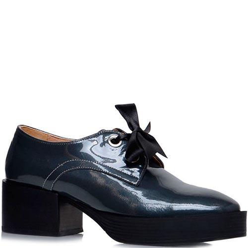 Лаковые туфли Prego серого цвета на среднем каблуке, фото