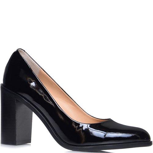 Лаковые туфли Prego черного цвета на высоком каблуке, фото