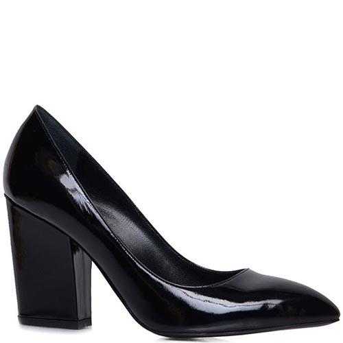 Лаковые туфли-лодочки Prego черного цвета на толстом каблуке, фото